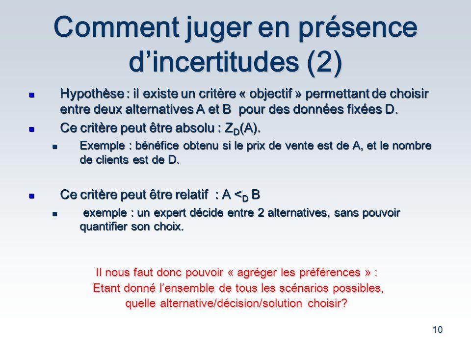 Comment juger en présence d'incertitudes (2)
