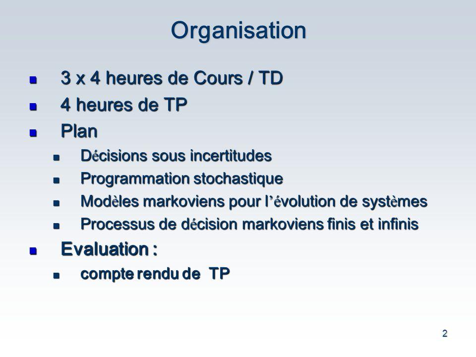 Organisation 3 x 4 heures de Cours / TD 4 heures de TP Plan