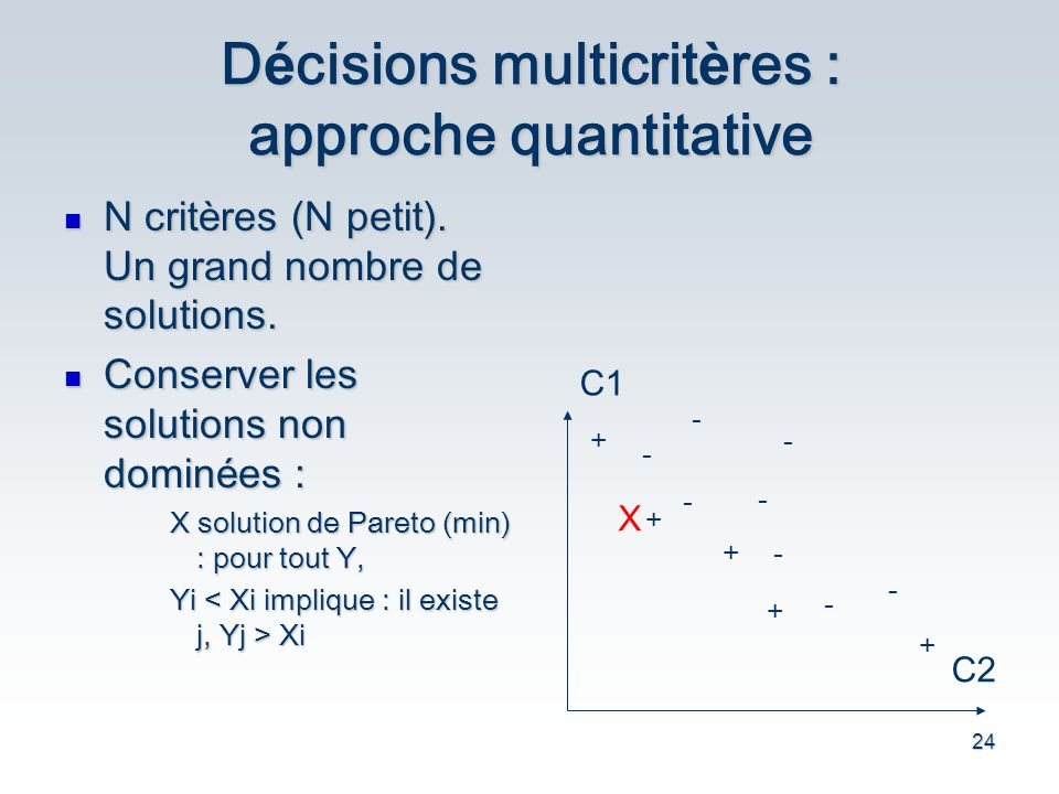 Décisions multicritères : approche quantitative