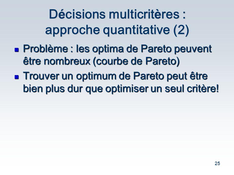 Décisions multicritères : approche quantitative (2)