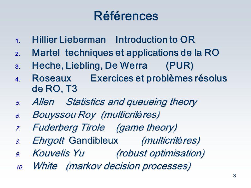 Références Hillier Lieberman Introduction to OR