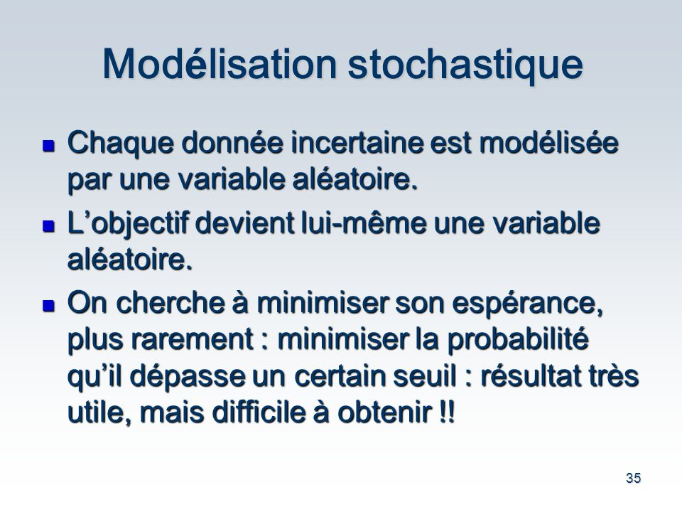 Modélisation stochastique