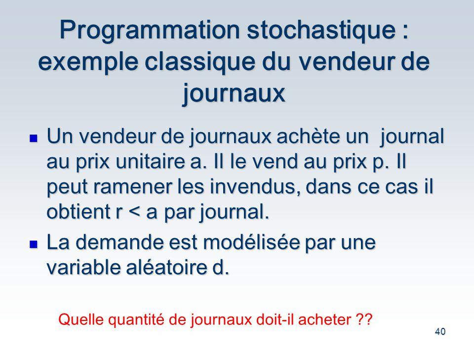 Programmation stochastique : exemple classique du vendeur de journaux