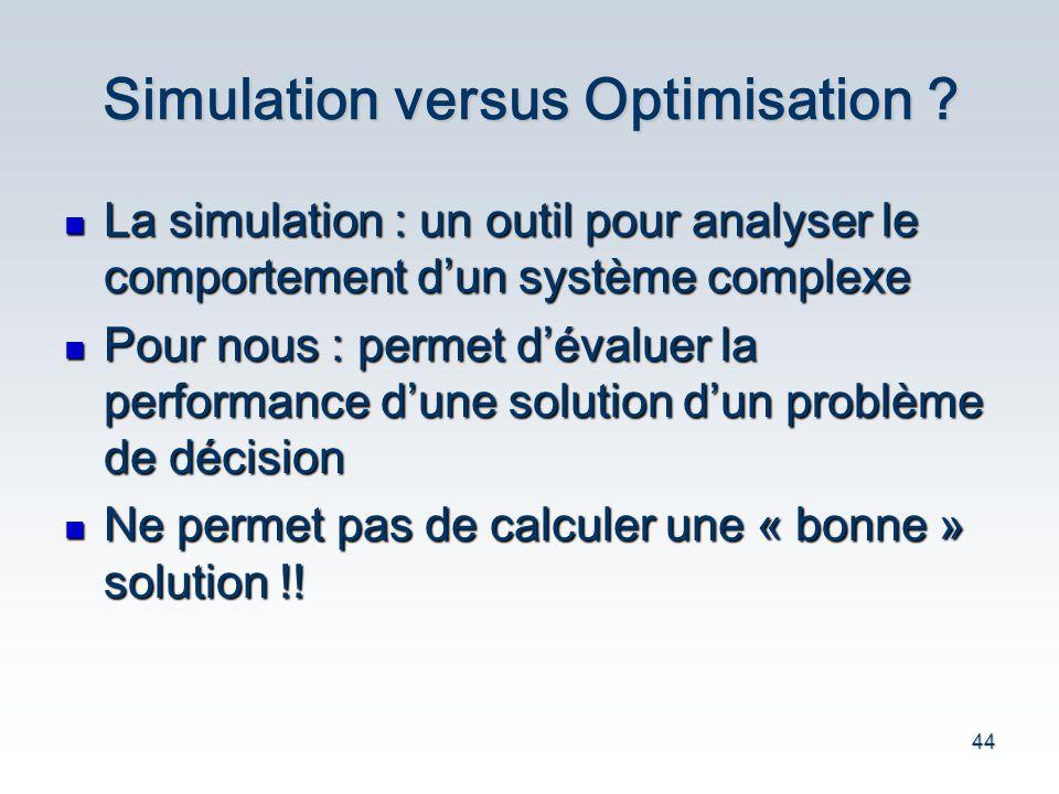 Simulation versus Optimisation