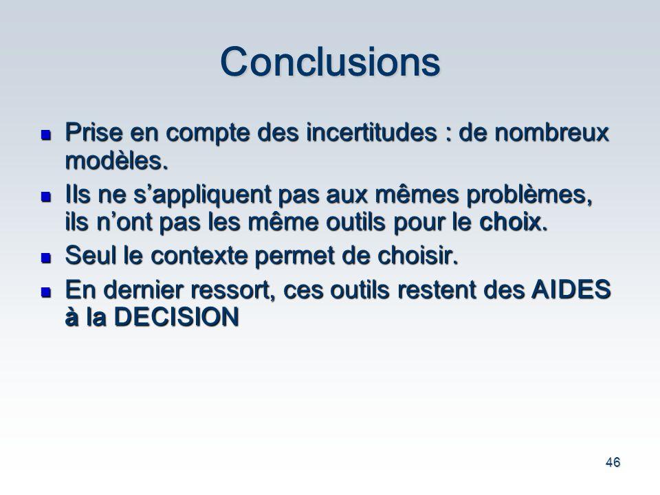 Conclusions Prise en compte des incertitudes : de nombreux modèles.