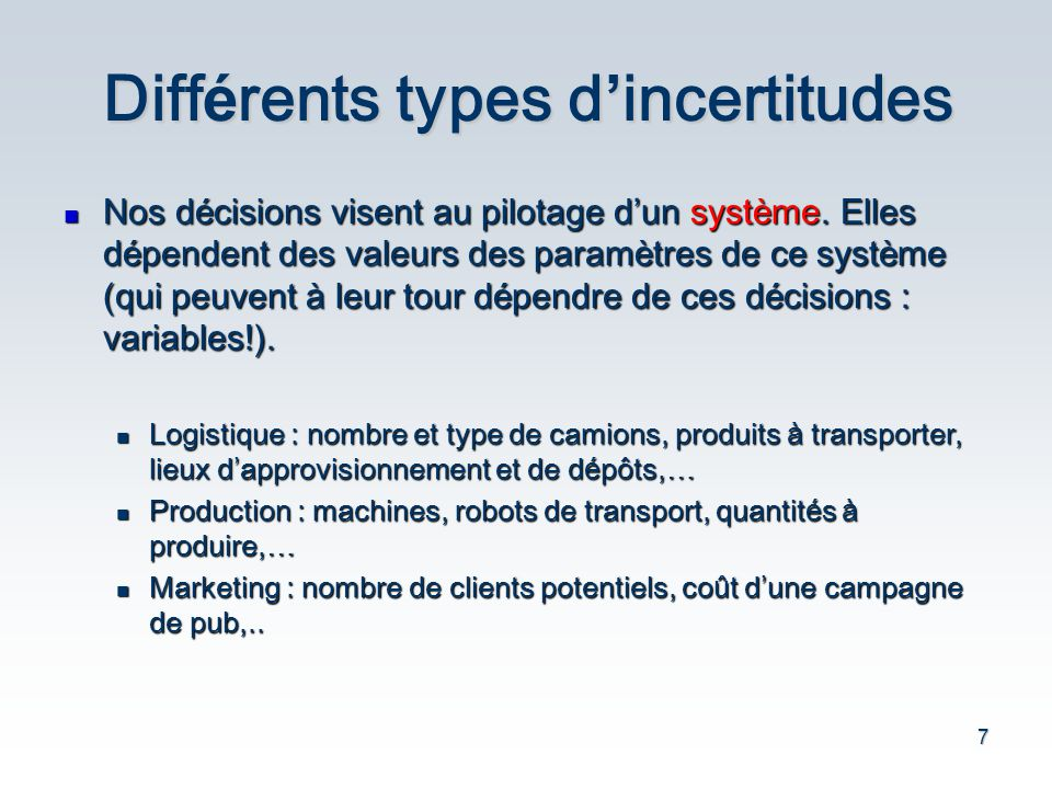 Différents types d'incertitudes