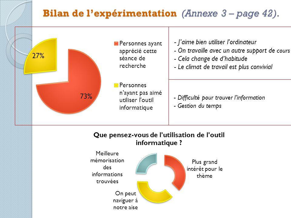 Bilan de l'expérimentation (Annexe 3 – page 42).