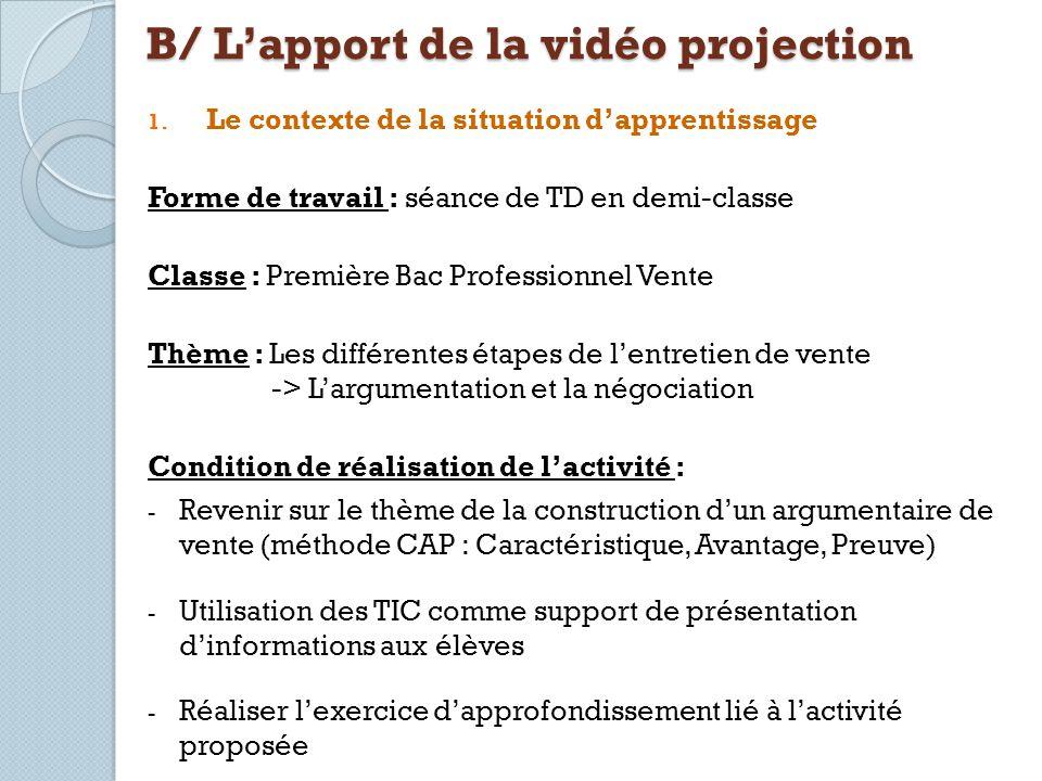 B/ L'apport de la vidéo projection