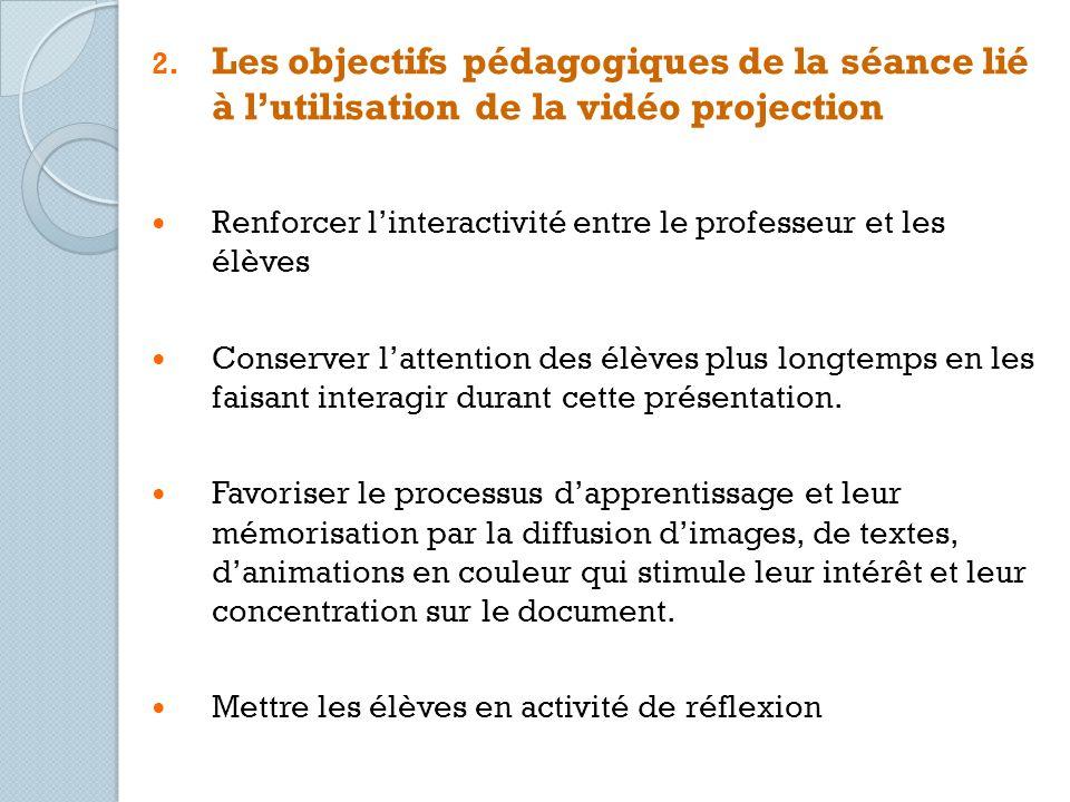 Les objectifs pédagogiques de la séance lié à l'utilisation de la vidéo projection