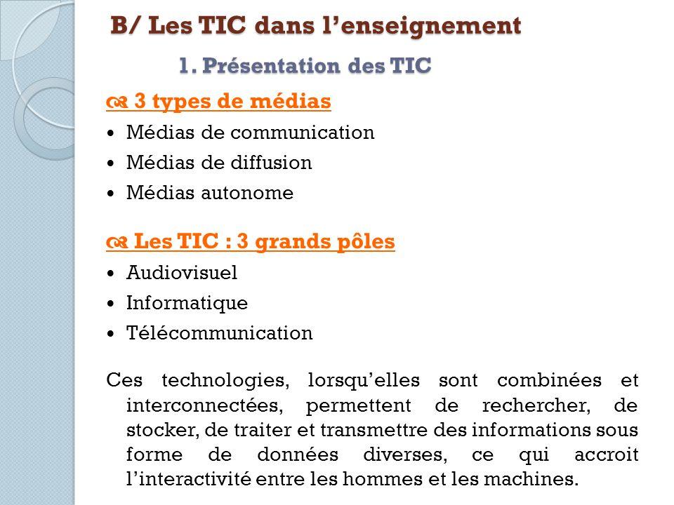 B/ Les TIC dans l'enseignement 1. Présentation des TIC
