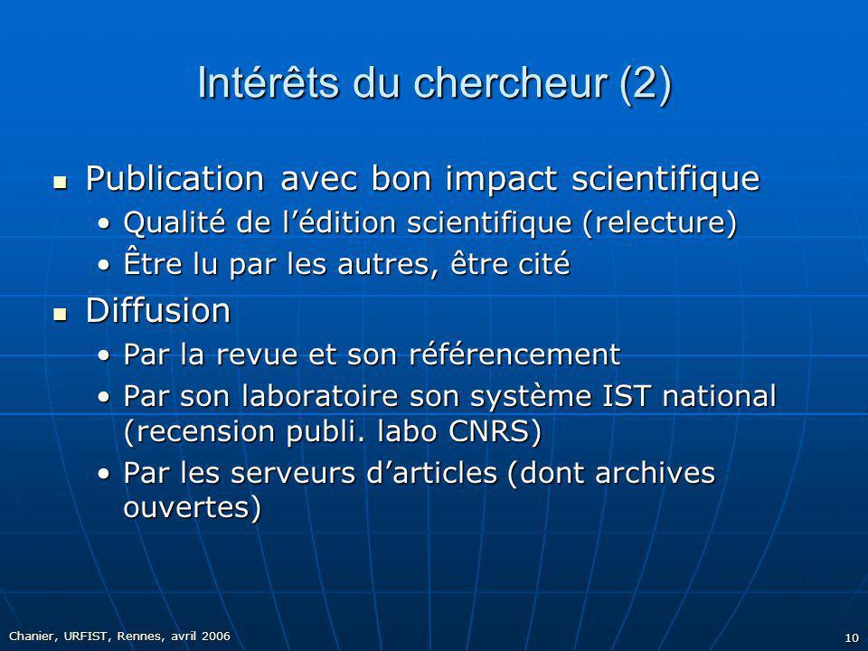 Intérêts du chercheur (2)