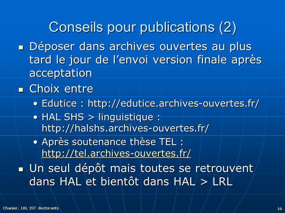 Conseils pour publications (2)
