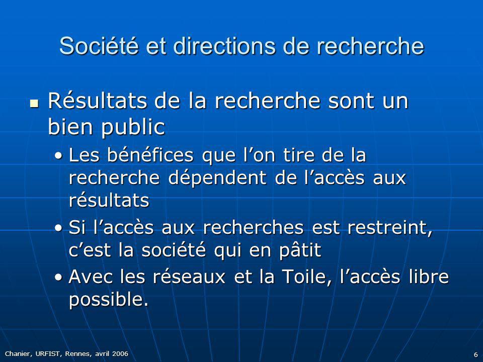 Société et directions de recherche