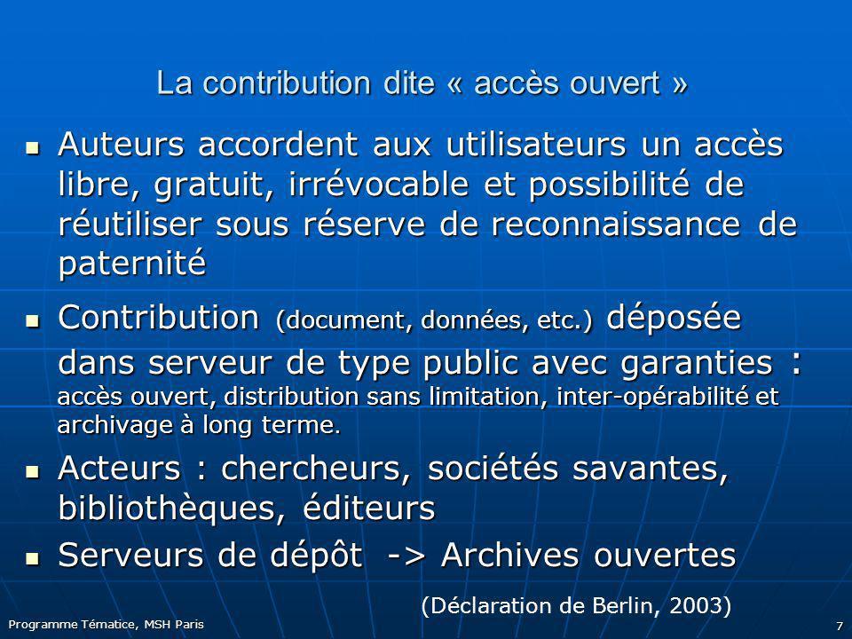 La contribution dite « accès ouvert »
