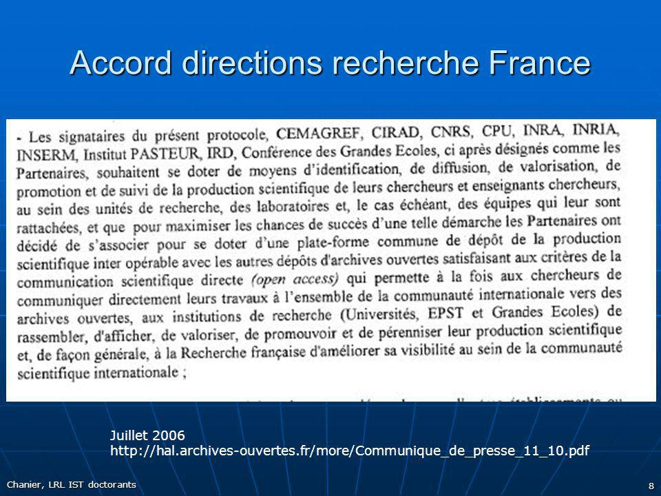 Accord directions recherche France