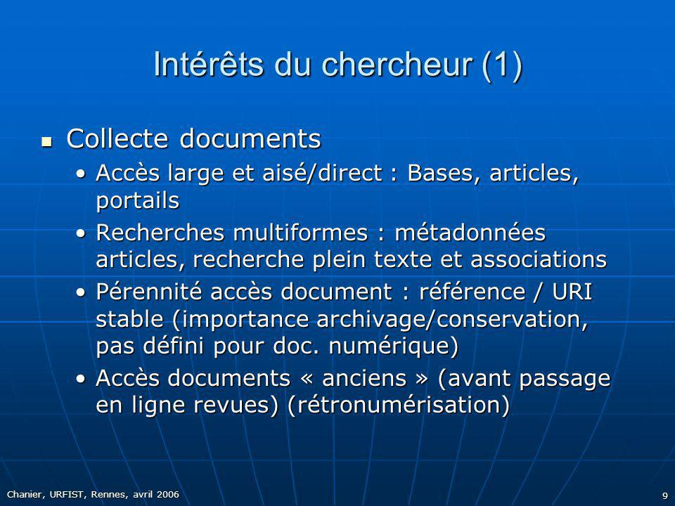 Intérêts du chercheur (1)