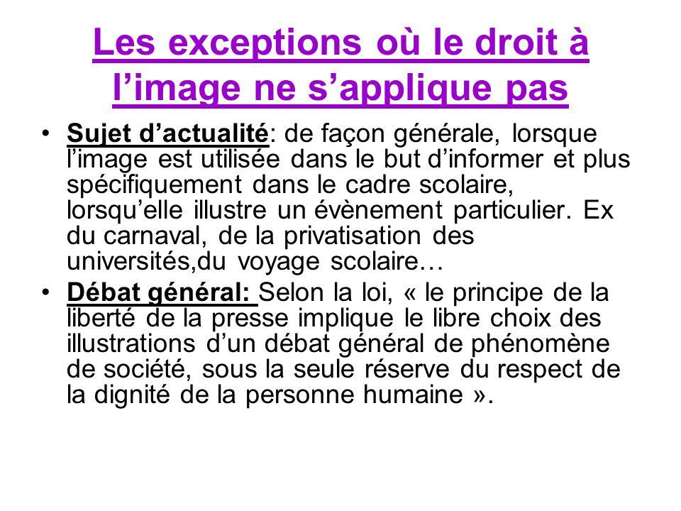 Les exceptions où le droit à l'image ne s'applique pas