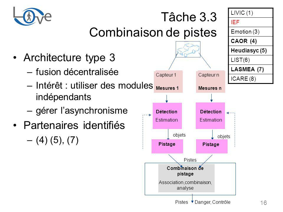 Tâche 3.3 Combinaison de pistes