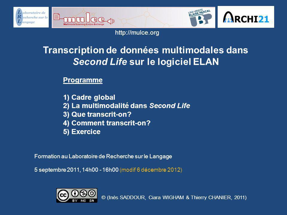 http://mulce.org Transcription de données multimodales dans Second Life sur le logiciel ELAN. Programme.