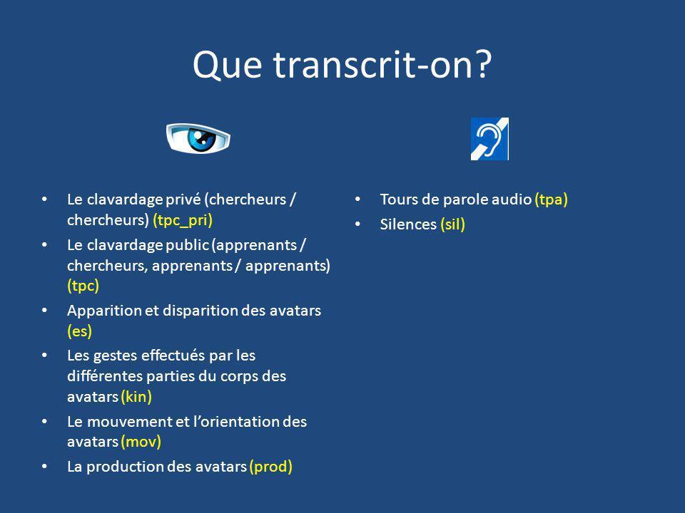 Que transcrit-on Le clavardage privé (chercheurs / chercheurs) (tpc_pri)