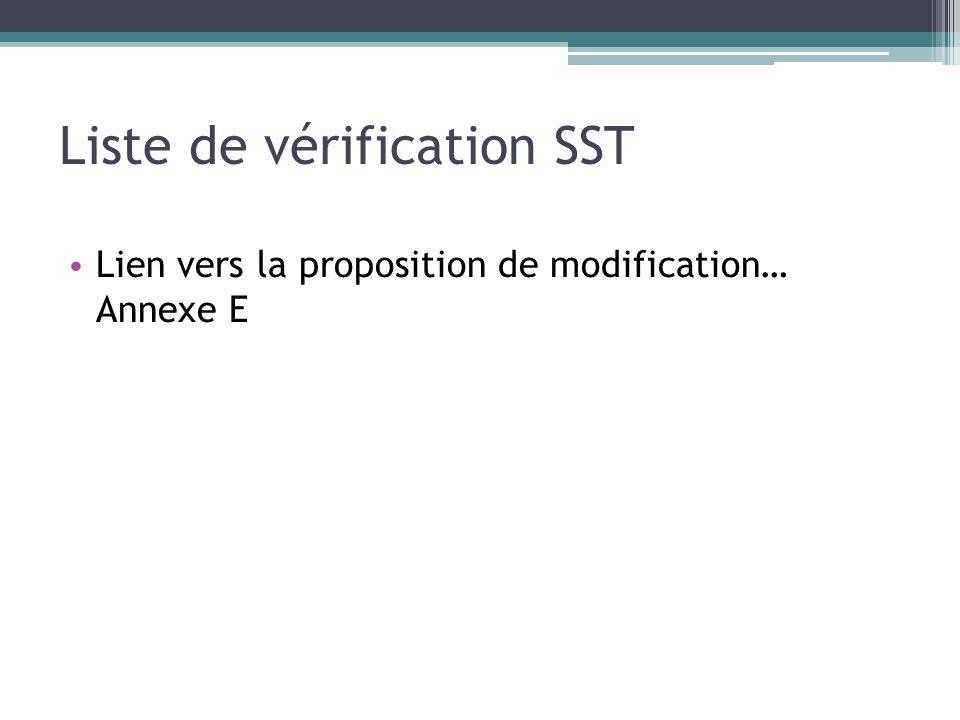 Liste de vérification SST