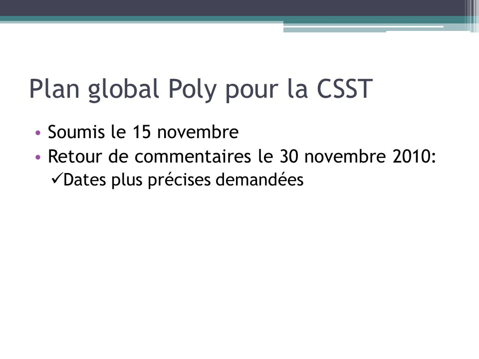 Plan global Poly pour la CSST