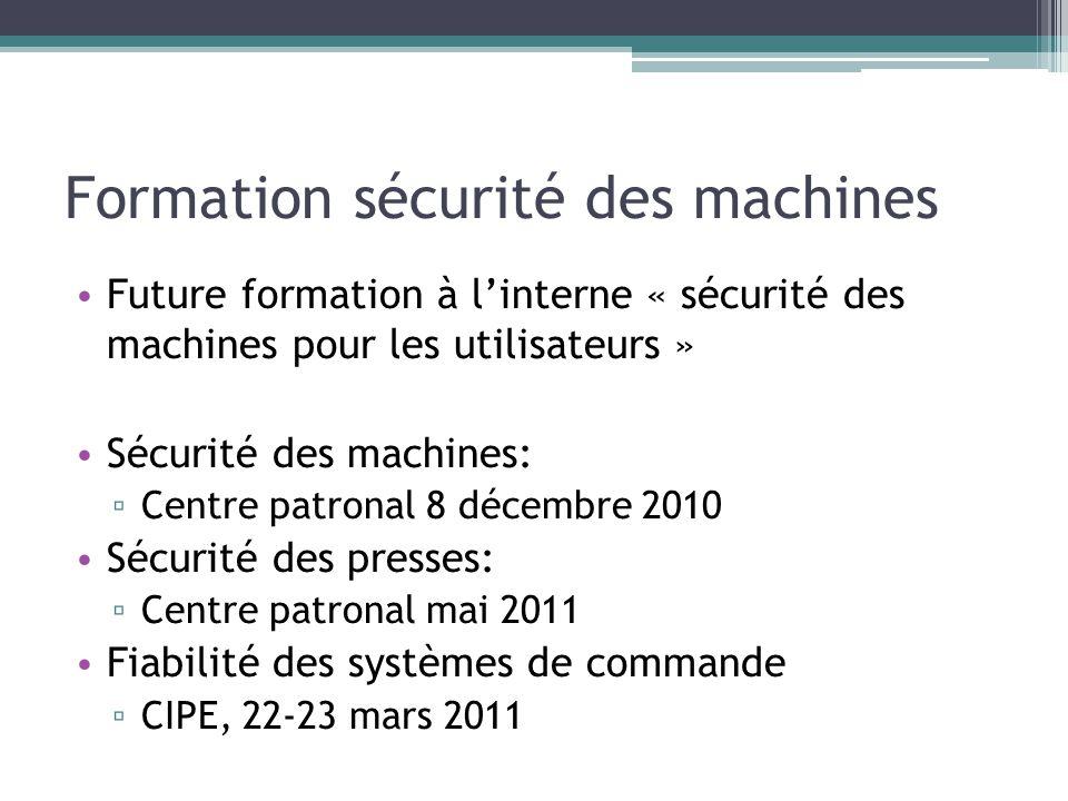 Formation sécurité des machines