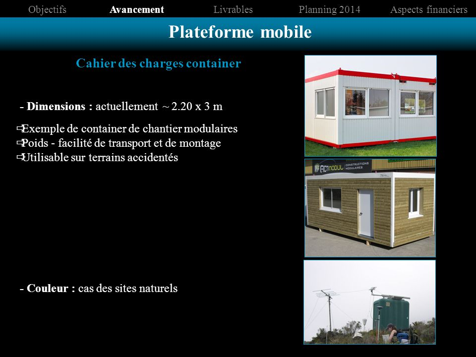 Cahier des charges container