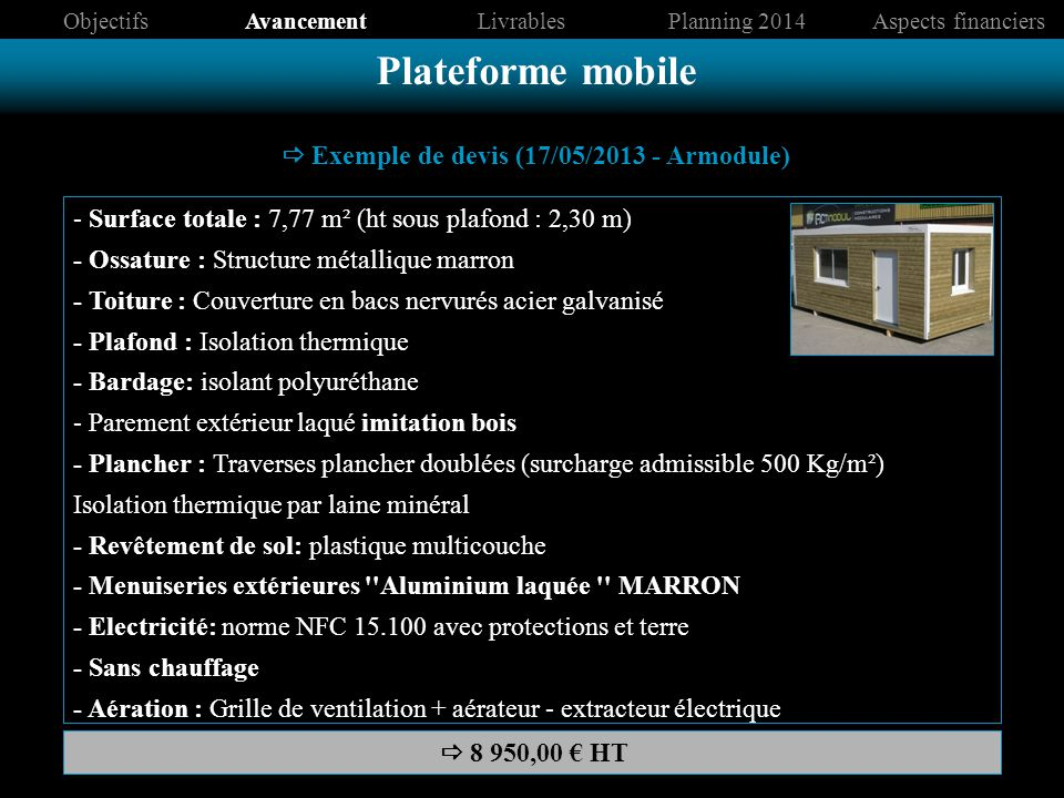 Plateforme mobile Cahier des Charges container s.s.