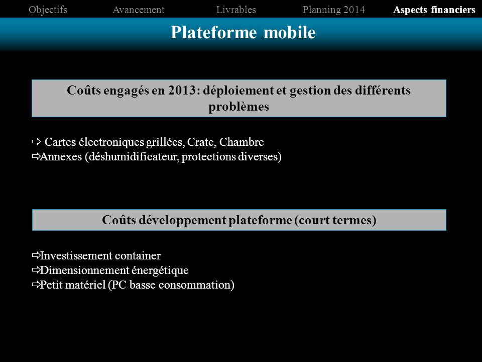 Objectifs Avancement. Livrables. Planning 2014. Aspects financiers. Plateforme mobile.