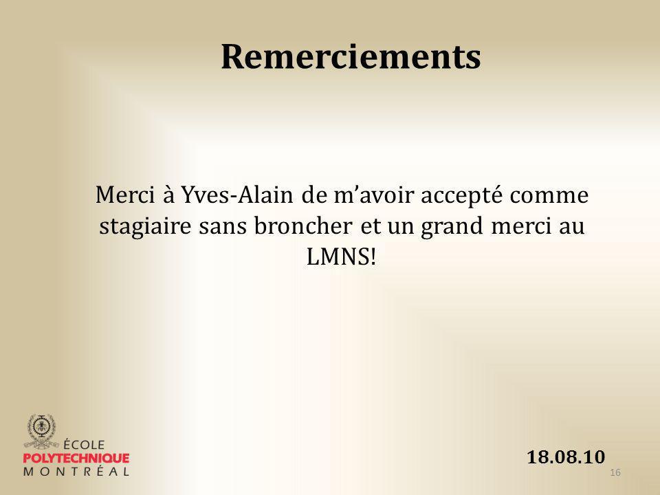 Remerciements Merci à Yves-Alain de m'avoir accepté comme stagiaire sans broncher et un grand merci au LMNS!