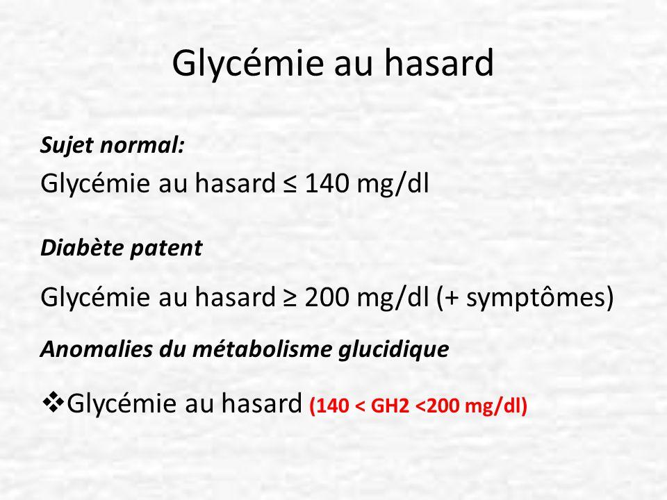 Glycémie au hasard Glycémie au hasard ≤ 140 mg/dl