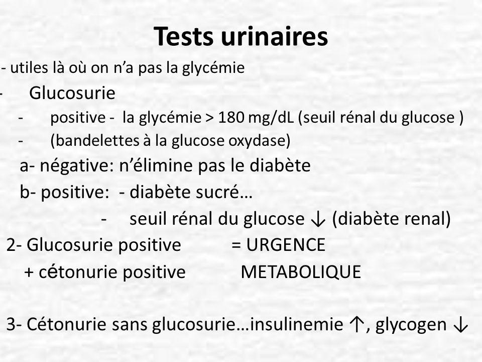 Tests urinaires Glucosurie a- négative: n'élimine pas le diabète