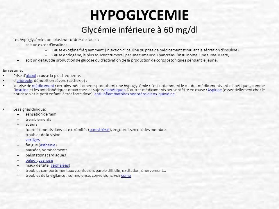 HYPOGLYCEMIE Glycémie inférieure à 60 mg/dl