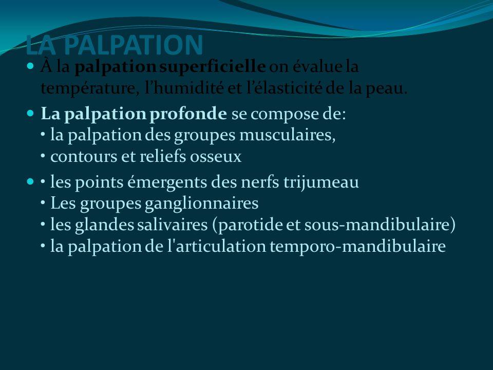 À la palpation superficielle on évalue la température, l'humidité et l'élasticité de la peau.