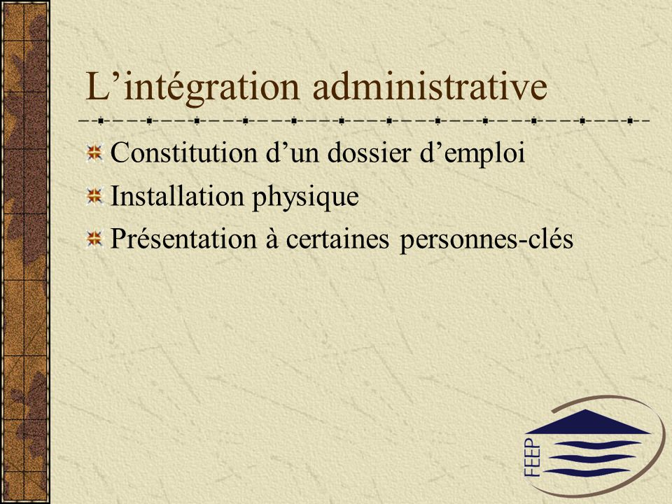 L'intégration administrative