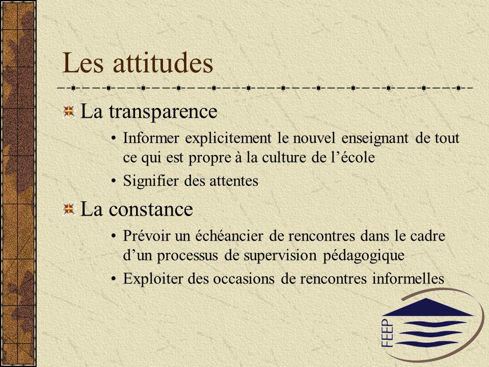 Les attitudes La transparence La constance