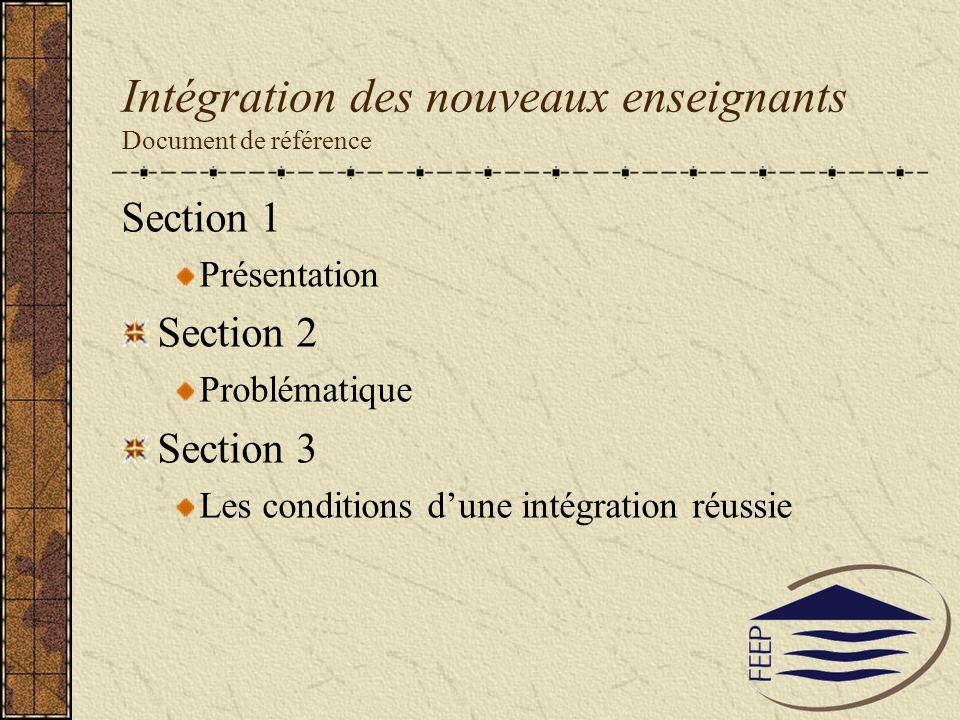 Intégration des nouveaux enseignants Document de référence