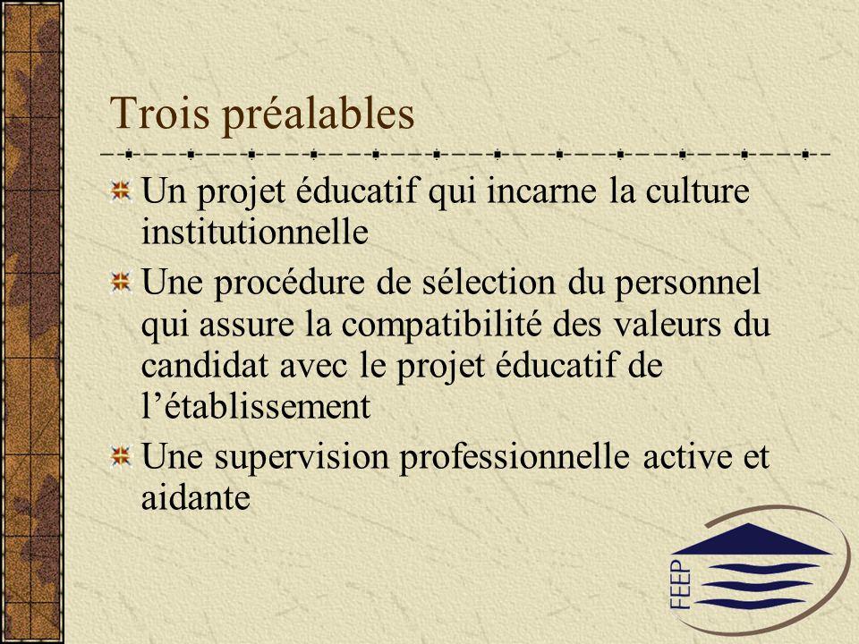 Trois préalables Un projet éducatif qui incarne la culture institutionnelle.