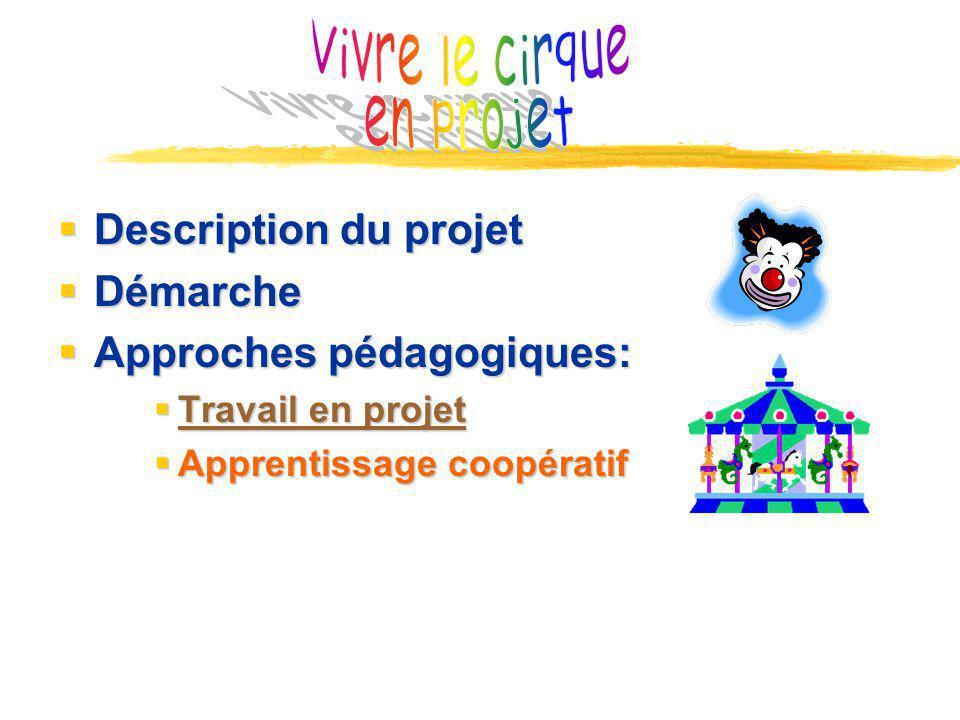 Vivre le cirque en projet Description du projet Démarche