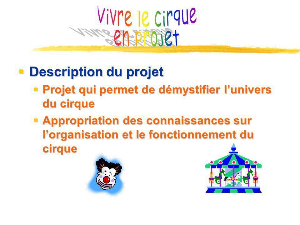Vivre le cirque en projet Description du projet