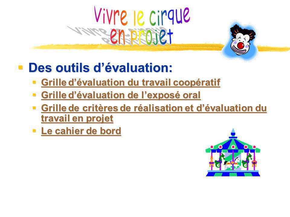 Vivre le cirque en projet Des outils d'évaluation: