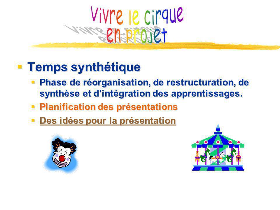 Vivre le cirque en projet Temps synthétique