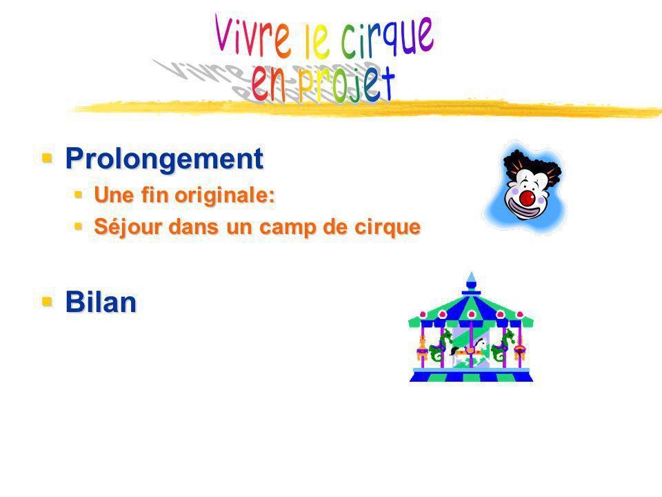 Vivre le cirque en projet Prolongement Bilan Une fin originale: