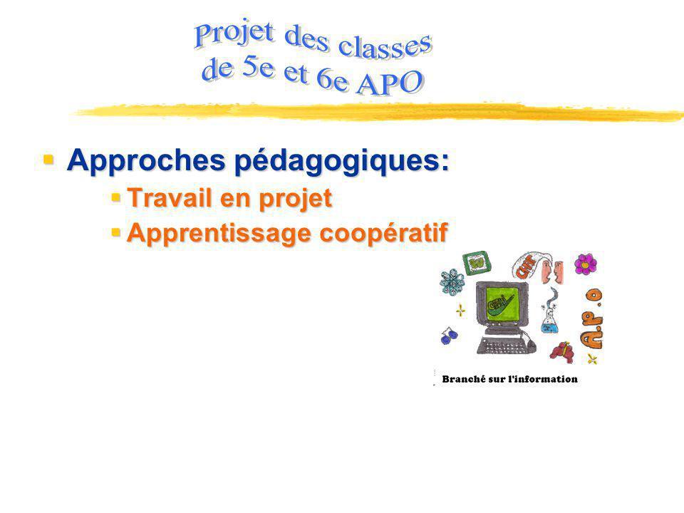Projet des classes de 5e et 6e APO Approches pédagogiques: