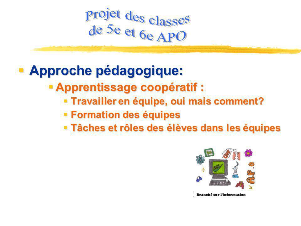 Projet des classes de 5e et 6e APO Approche pédagogique: