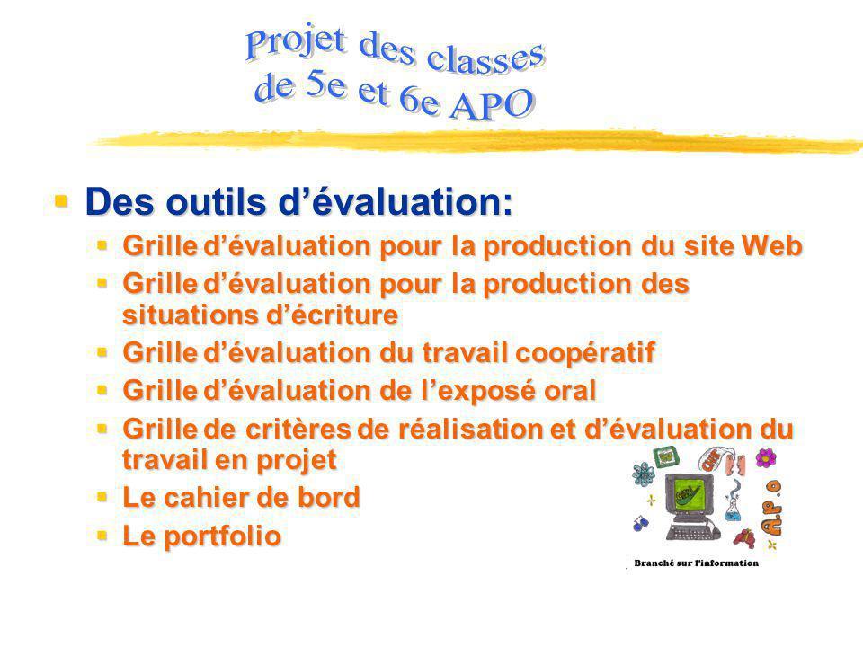 Projet des classes de 5e et 6e APO Des outils d'évaluation: