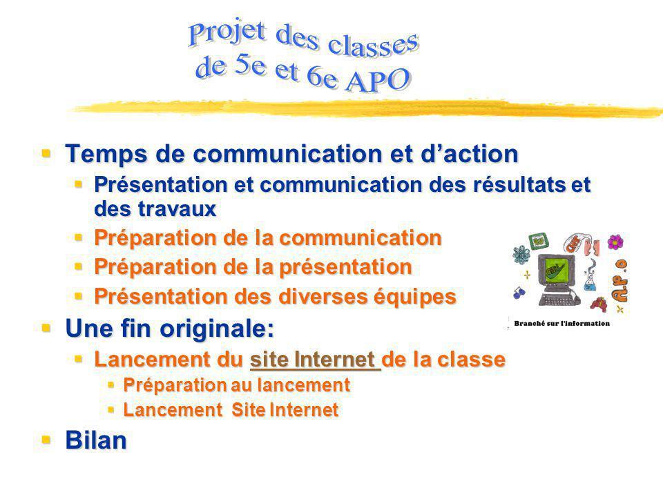 Projet des classes de 5e et 6e APO Temps de communication et d'action
