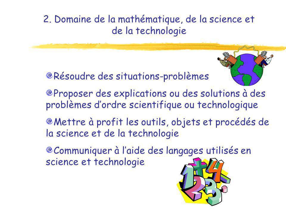 2. Domaine de la mathématique, de la science et de la technologie