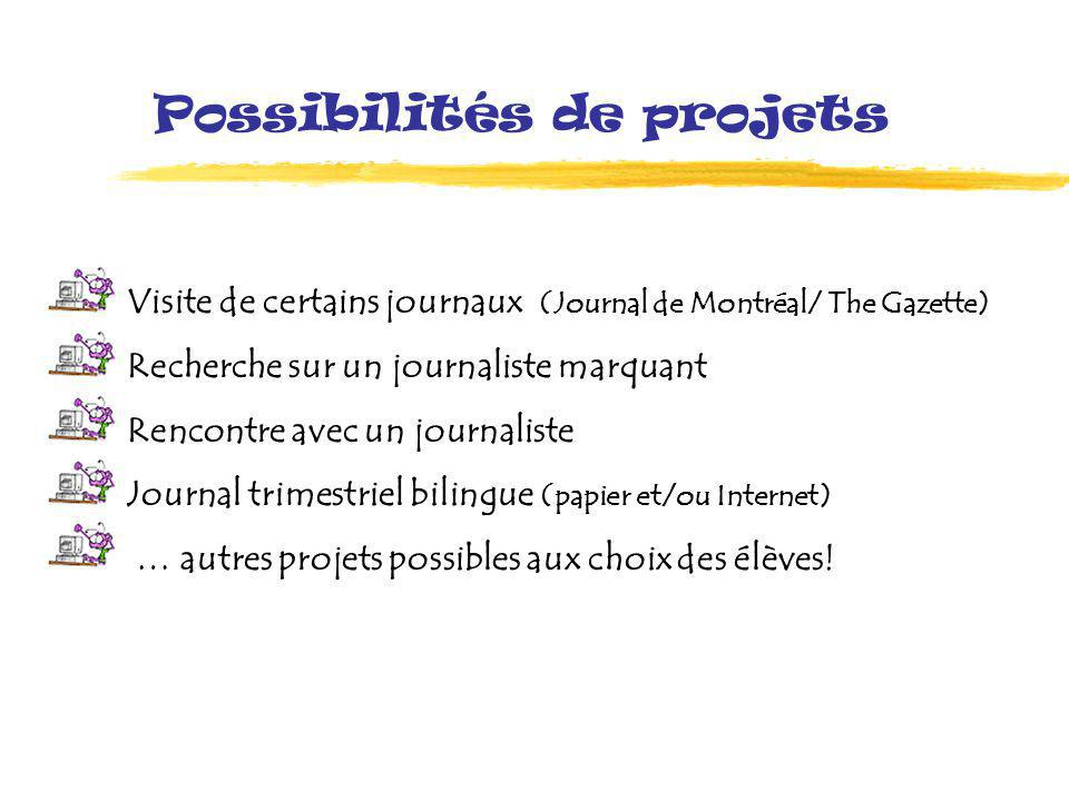 Possibilités de projets